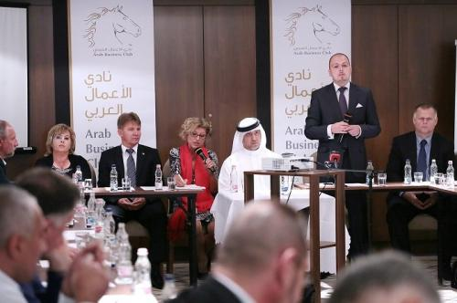 Arab Business Club President Hamdan Mohamed Almurshidi during press conference of announcing Hungarian Ambassador for Arab Business Club